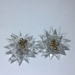 Vintage Clear Acrylic Flower Gold bead Earrings